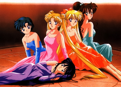 Above are the original Sailor Scouts dressed in evening gowns.