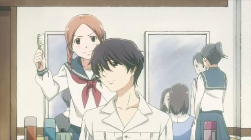 Akira helping Yasuko with her hair