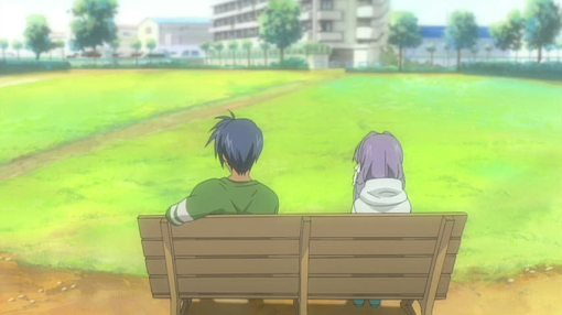 Kyou and Tomoya at the park bench