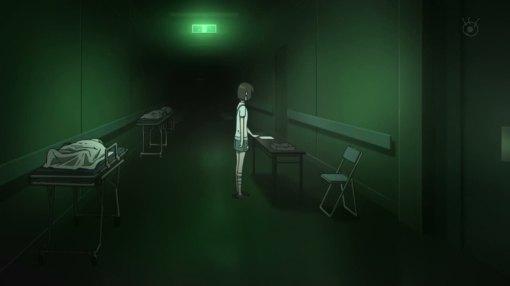 Mirai looking at Yuuki's death cert.
